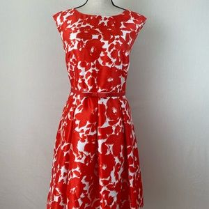 ❤️Danny and Nicole Red/White Floral Dress. Sz 14.